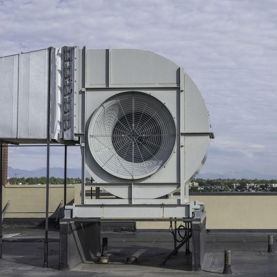 close up commercial HVAC fan